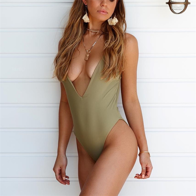 Kmnovo Thong One Piece Swimwear Swimsuit Bathing Suit Women Sexy Solid Deep-V Piece Swimsuit 2018 Halter Monokini