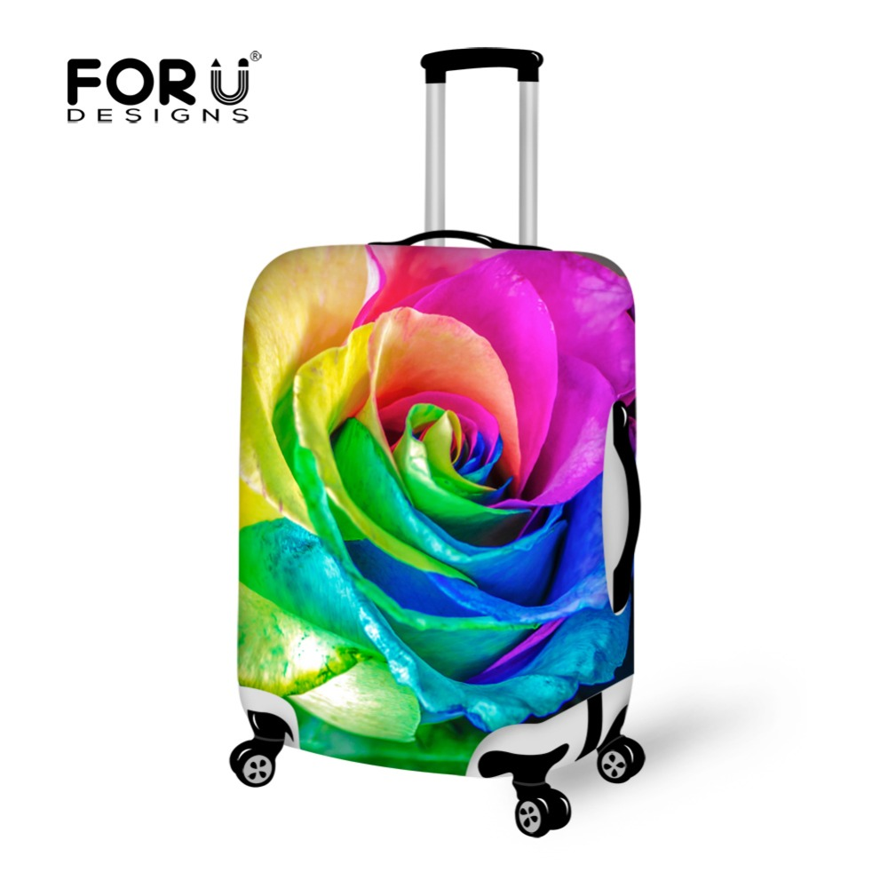 FORUDESIGNS Elastic Luggage Protective Covers For 18-32 Inch Trolley Case Flower Rose Print Thick Dust Proof Suitcase Rain Cover