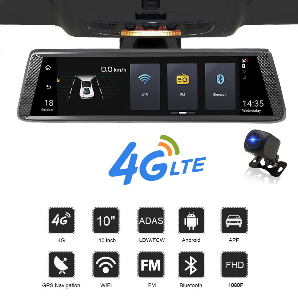 HGDO 10 IPS 4G car dvrs Android mirror with rear view camera ADAS Bluetooth WIFI 1080p camara automovil mirror navigator