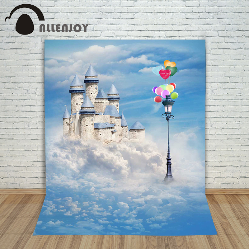 Allenjoy photographic castle background Balloon lights sky backdrops baby princess photo