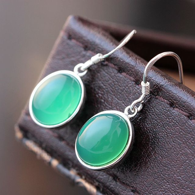 925 Sterling Silver Inlaid Natural Chrysoprase Earrings Anti Allergy Small Drops Of