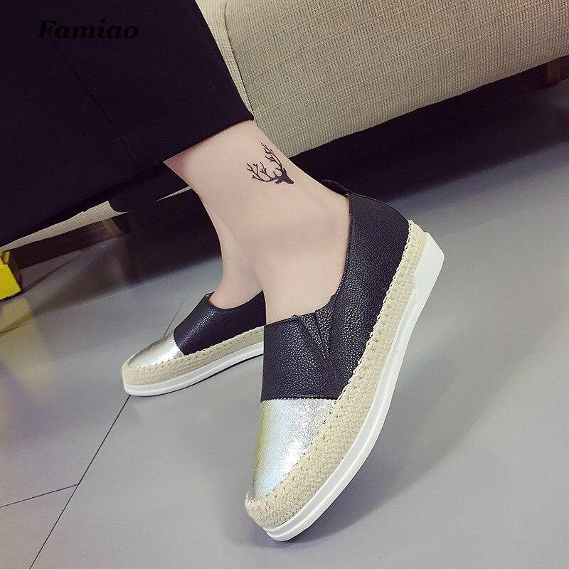 Famiao Glitter Loafers 2018 Sommar Slip On Flats Fisherman Skor - Damskor - Foto 4