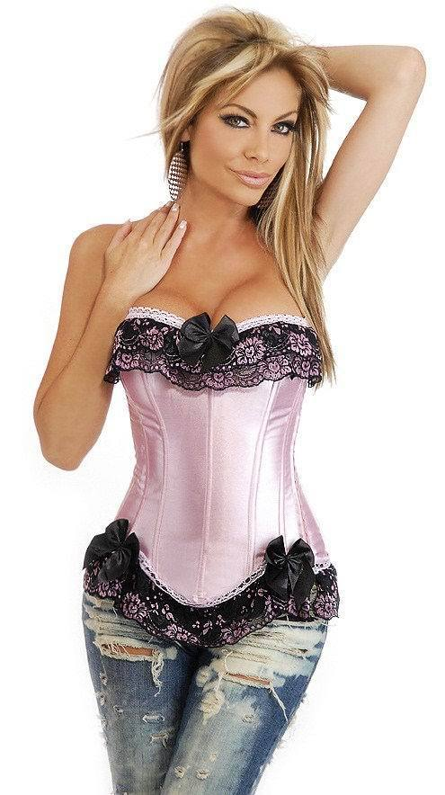 Pink Silk Corset For Adults 3S3039 Sexy Pink Bustier Corset In Big Discount Plus Size Corsets