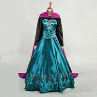 Hot Anime Cosplay Costumes Polyester Adult Princess Anna Fancy Dress Snow Queen Womens With Cape Costume Dress and Cloak