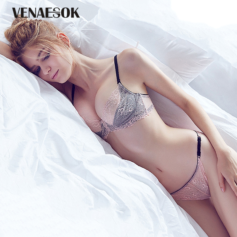France Pink   Bras   And Panty   Sets   Sexy Brassiere Embroidery Lingerie   Set   Women Lace See Through   Bra   Transparent Underwear   Set