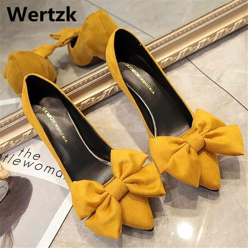 Wertzk 2019 Yeni Sivri Burun Süet yay Kadın Ayakkabı Slip-On Sığ düşük topuklu Pompa Moda Ayakkabı kadın E057
