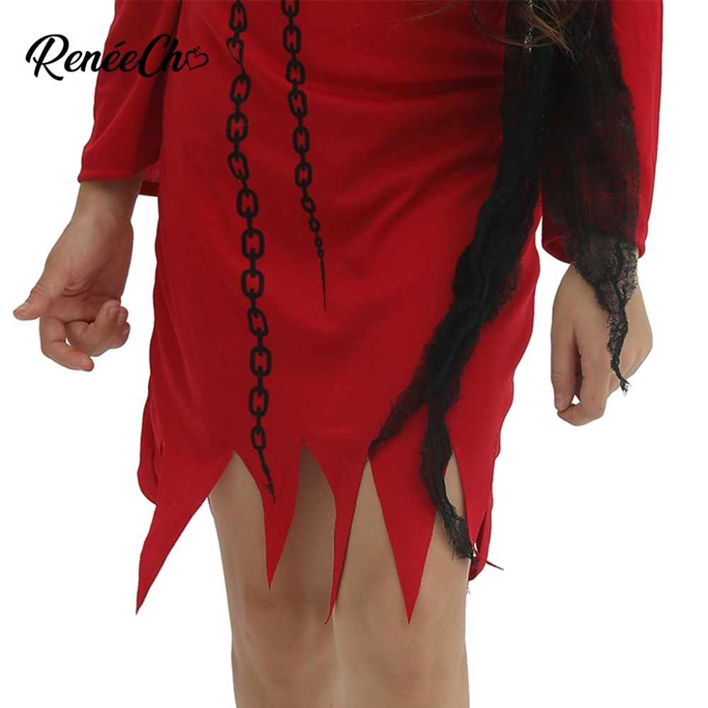 Image 5 - Halloween Costume For Kids 2018 Girls Devil Costume Demon Vampire Red Scary cosplay Clothing Iron Chain Print Dress Hooded-in Girls Costumes from Novelty & Special Use