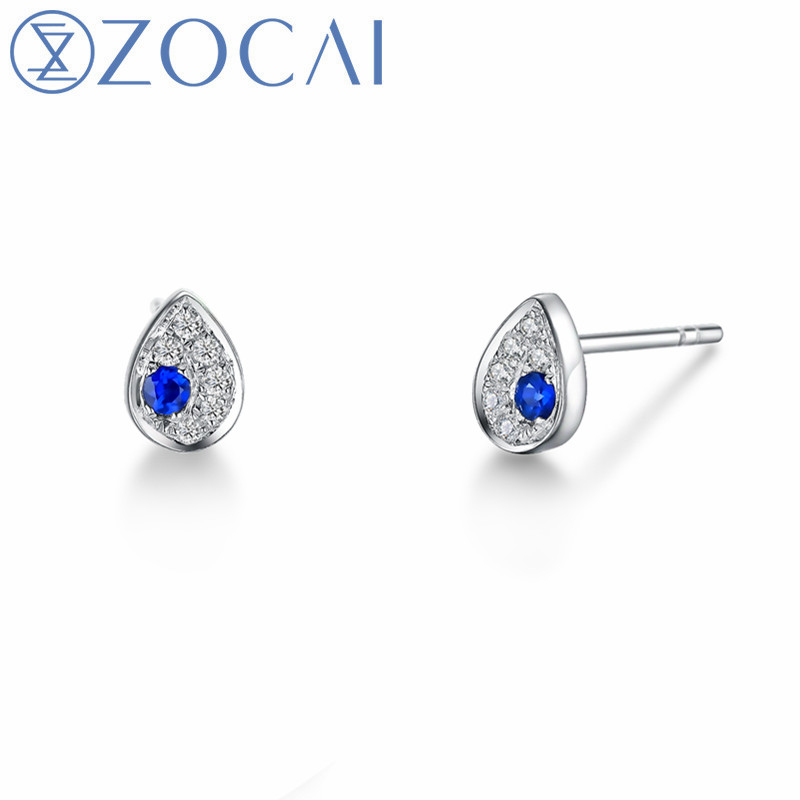ZOCAI Design boucles d'oreilles pour femmes véritable 18 K or blanc 0.06ct saphir avec 0.07ct diamant boucles d'oreilles de fiançailles E01121