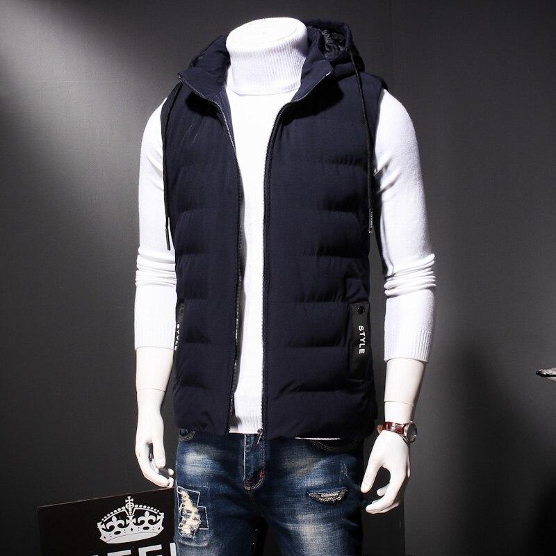 Plus Size 8XL 7XL Winter men's Warm sleeveless Vest men cotton hooded jacket male zipper Waistcoat for Autumn male gilet homme - 6