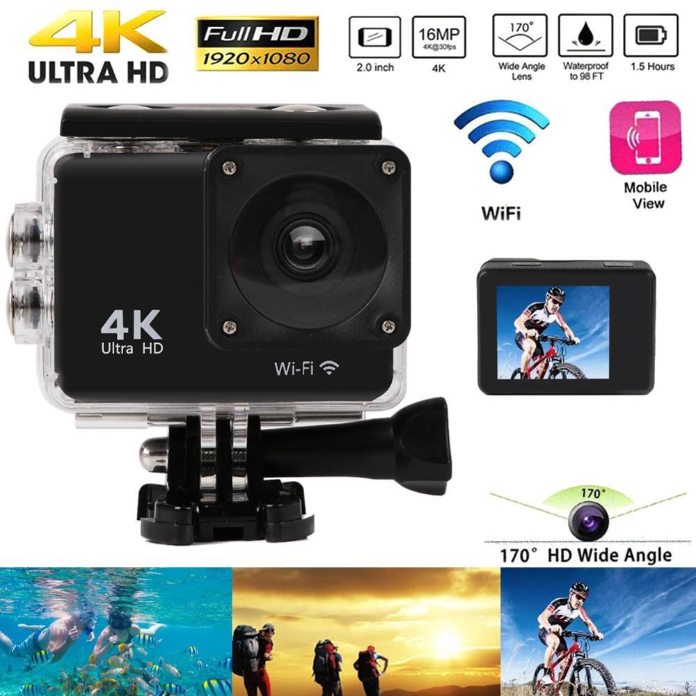 Ultra HD 2 0 &quotСпортивная Экшн камера 4K 25fps WiFi 170 ° Подводная Водонепроницаемая шлем