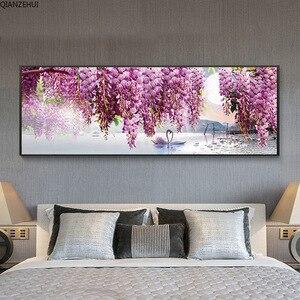 Image 4 - QIANZEHUI,DIY 5Dหงส์สีม่วงดอกไม้เย็บปักถักร้อยเพชรรอบเพชรRhinestoneภาพวาดเพชรCross Stitch,เย็บปักถักร้อย