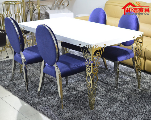 Good Modern Minimalist Stainless Steel Dining Table Dinette Combination Stylish  White Piano Lacquer Gilded Carved Dining Table