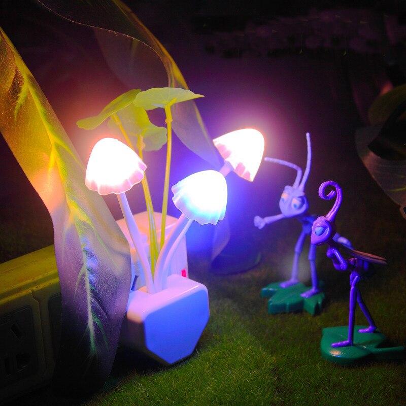 Professional Mushroom Led Color Change Light Sensor Energy Saving Red Rose Flower Decor Night Lamp Home Illumination US/EU Plug