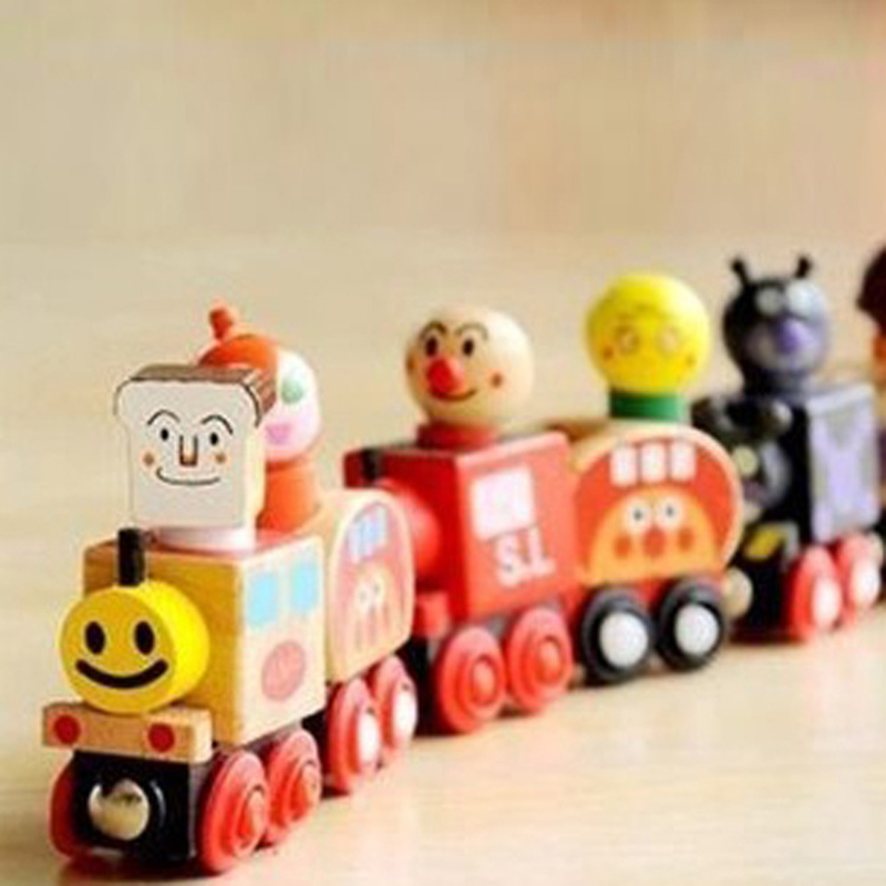 2017 Limited Juguetes Cars Oyuncak 5pcs Baby Wooden Magnetic Little Toy Children Model Shape Cognition Toys Dragging Kids Car