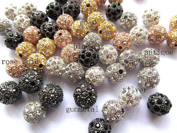 где купить 25%off--100pcs 6 8 10 12mm Bling Pave Crystal Brass Spacer Round Ball Gunmetal Hematite Jet Silver Rose gold Mixed Charm beads дешево