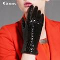Gours invierno guantes de cuero genuinos para las mujeres nueva marca de moda negro caliente de piel de cabra de cocodrilo mittens luvas gsl019