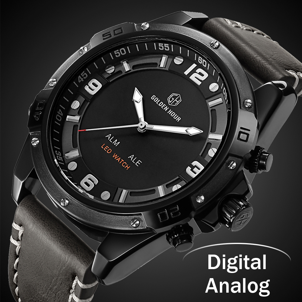 все цены на Luxury Brand Men Analog Digital Leather Wristwatch Sports Watches Men's Army Military Watch Man Quartz Clock Relogio Masculino