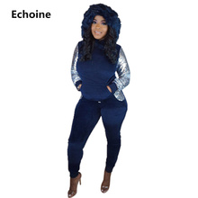 Women Winter 2 Pieces Set Sequined Hoodies and Pants Patchwork Casual Female Tracksuit Clubwear SExy Slim Two