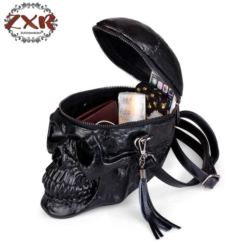 Личности моды Черный череп заклепки Для мужчин и Для женщин сумки через плечо Для мужчин Путешествия с молнией сумки на плечо смешные сумки