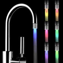 Led torneira de água córrego luz cozinha banheiro torneira do chuveiro bico cabeça 7 mudança cor sensor temperatura luz #50g