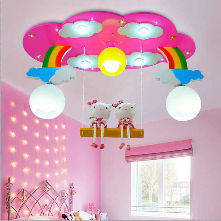 Modern Cartoon Ceiling Light Kids Bedroom Bulb Light Fittings Led Lamp For Children Room Lighting Girl S Room Pink Blue Color