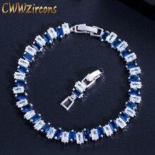 CWWZircons модные брендовые Роскошные ювелирные изделия серебряный цвет Suqare AAA кубический цирконий женские браслеты с голубым зеленым кристаллом CB092