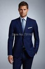 Blue Elegant Normal slim fit Men Suit Costume Homme Formal Business mens Blazer Suit Mens Suits Wedding Groom(jacket+pants)