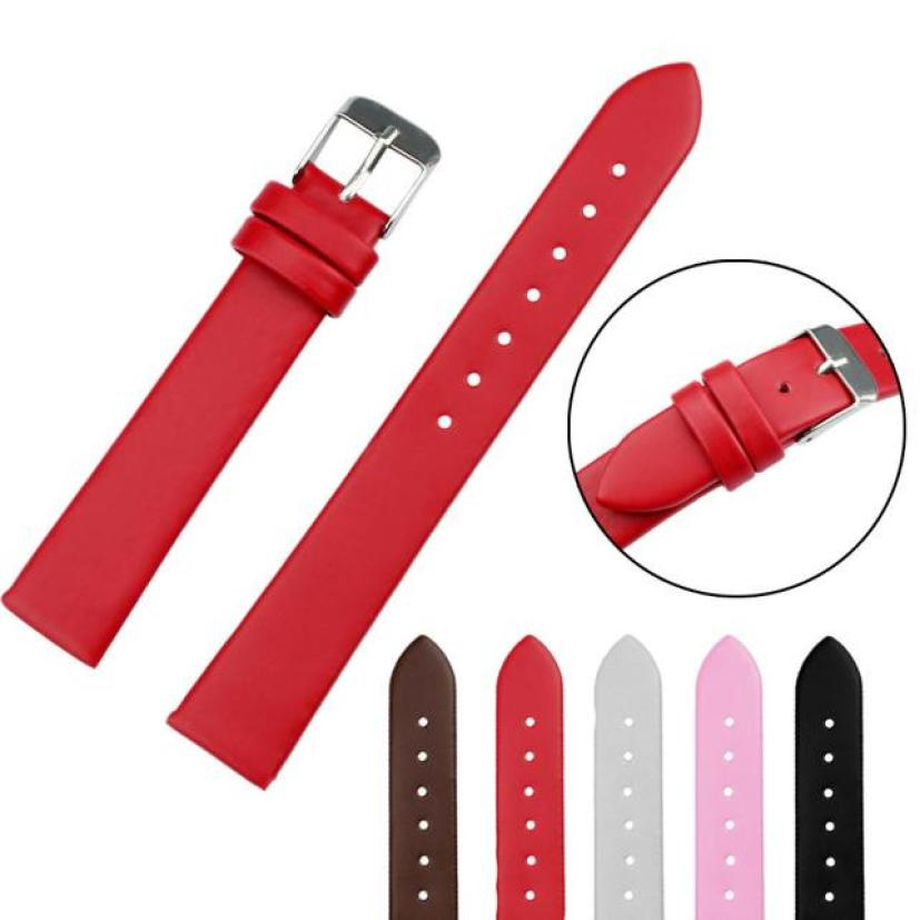 Womens mens watchbands 16mm High Quality Soft Sweatband Leather Strap Steel Buckle Wrist Watch Band feminino Strap for women 50P стоимость
