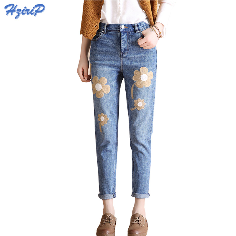 Women Floral Embroidered Jeans Femme Plus Size Vintage Ladies Blue Denim Harem Pants 2017 New Pencil Casual Fashion Jeans Mujer thunder star women flower printed skinny jeans femme plus size female 2017 ladies blue denim pencil pants casual brand fashion
