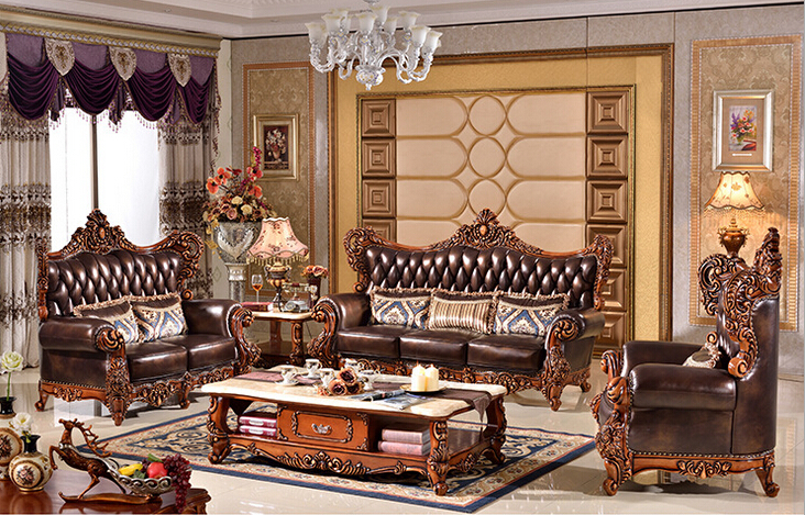 High Quality Luxury Genuine Leather With Wood Funiture