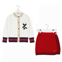 Autumn Winter Baby Girls Knit Clothing Sets Girls Long Sleeve Knit Coat+Knit SKirts 2PCS Toddler Kids Suits Clothes