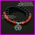 5PCS Carnelian With Black Onyx Agate Bead Bracelet,Double Wrap Bracelet Silver Plated Tree of Life Chakra Charm Bracelet
