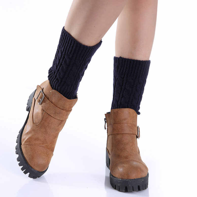 New 1pair Sexy Women Ladies Leg Warmers Autumn Winter Warm Foot Boots Socks Hemp Flowers Knit Toppers Boot Short Sock Cuffs  VN