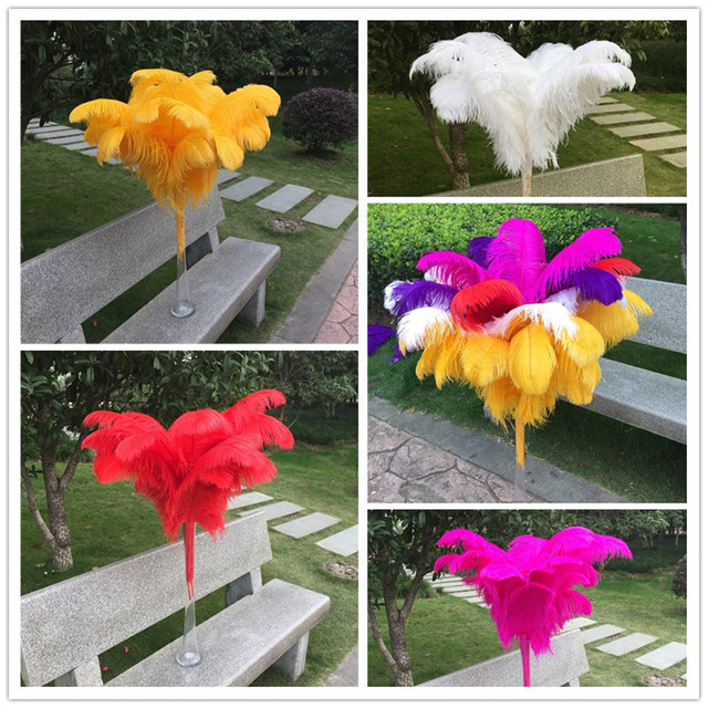 Hot Sell 100 Pcs 45-50cm beautiful cheap colored ostrich feathers diy jewelry accessories wedding decorations plume ostrich