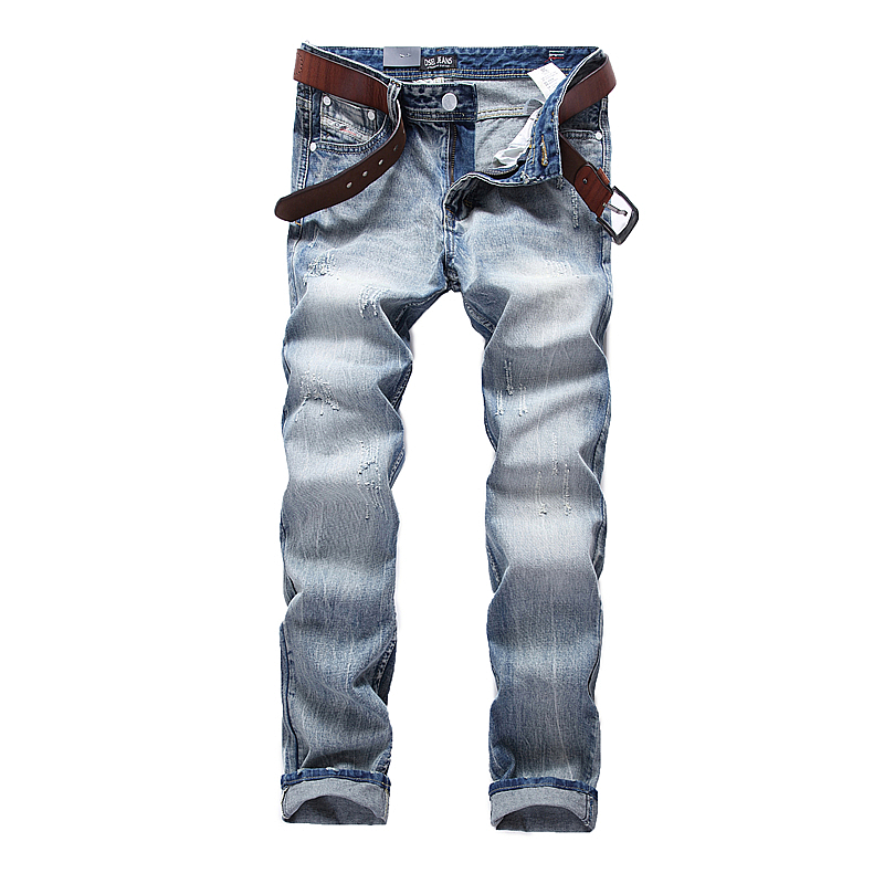 School Sky Blue Jeans Men Slim Straight Denim Jeans Ripped Trousers plus size 29-40 Quality water Washed Brand Men`s Jeans A981 patch jeans ripped trousers male slim straight denim blue jeans men high quality famous brand men s jeans dsel plus size 5704