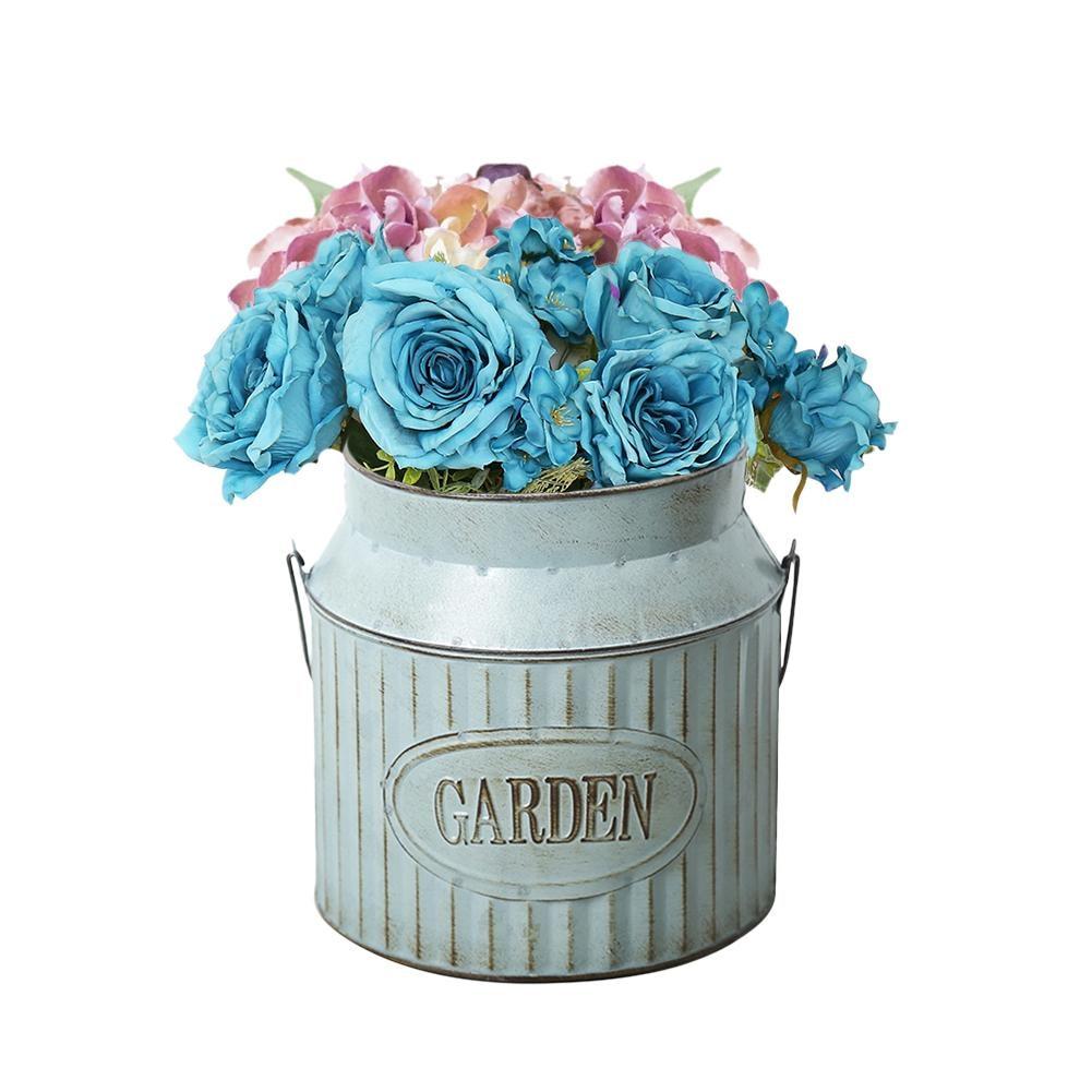 Vintage Rural Style Iron Handle Flower Holder Garden Shabby Vase Pot Succulent Plants Bucket Planter Decor Flower Pot Home Decor