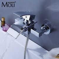 Wall bath mixer waterfall faucet square bath shower water tap tub faucet