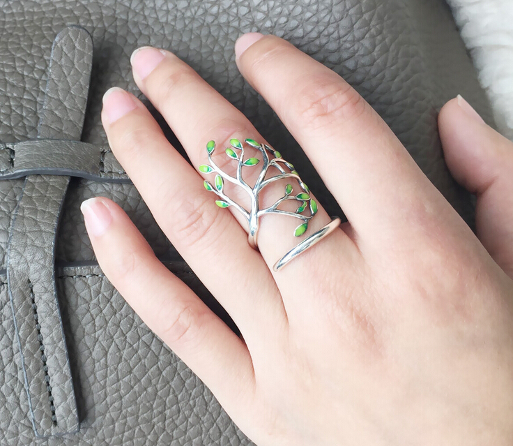 925 Sterling Silver Tree Of Life Leaves Branch Adjustable Wrap Ring