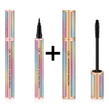 Zwarte Vloeibare Eyeliner Set Waterproof Dikke Verlenging Wimpers Ogen Marker Pen Professionele Make Up Beauty Tools