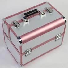Hot Sale Pink Cosmetic Organizer,Jewelry Boxes and Packaging,Portable Makeup Storage Box Suitcase,Organizer for Cosmetics(China)