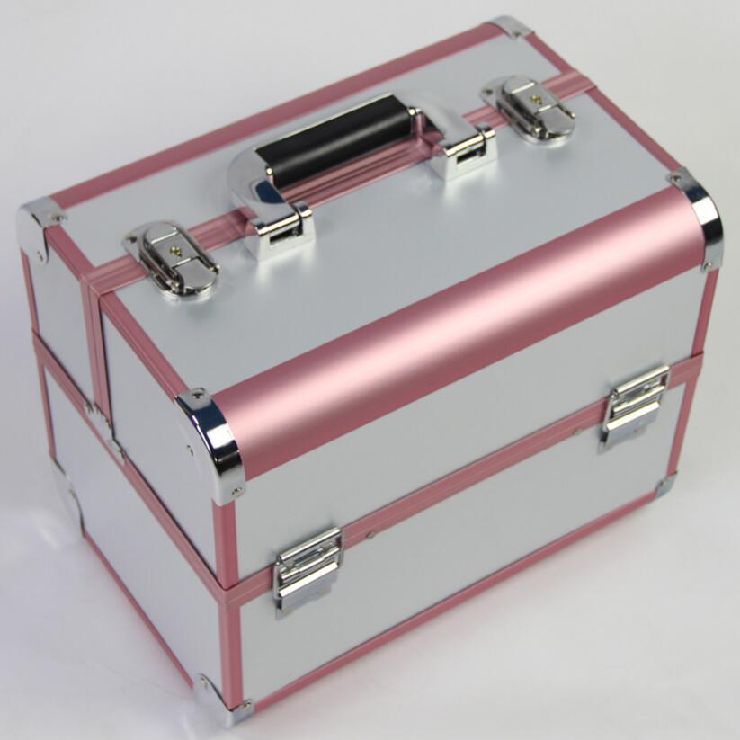 Vendita calda di Colore Rosa Organizzatore Cosmetici, Contenitori di Monili e di Imballaggio, Portatile Scatola di Immagazzinaggio di Trucco Valigia, Organizzatore per Cosmetici