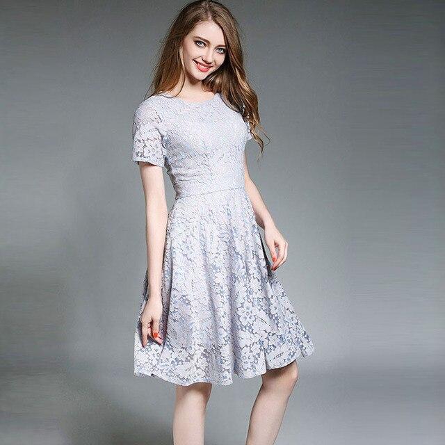 Mycourse Wanita Summer Dress Lace Dresses Lutut Panjang Gaun Pesta