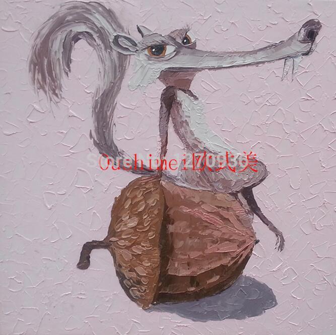 Ручная работа абстрактные животные играть фортепиано лягушка картина для комнаты настенный Декор ПЭТ индивидуальная покраска на холсте бульдог крокодил - Цвет: Squirrel