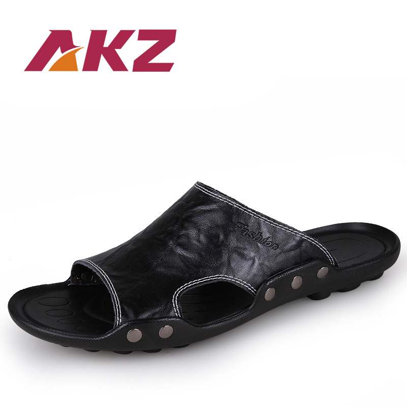AKZ Men Slippers Summer Shoes for Man Beach Outside slippers Casual Genuine Split Leather 5 colors size 38-46
