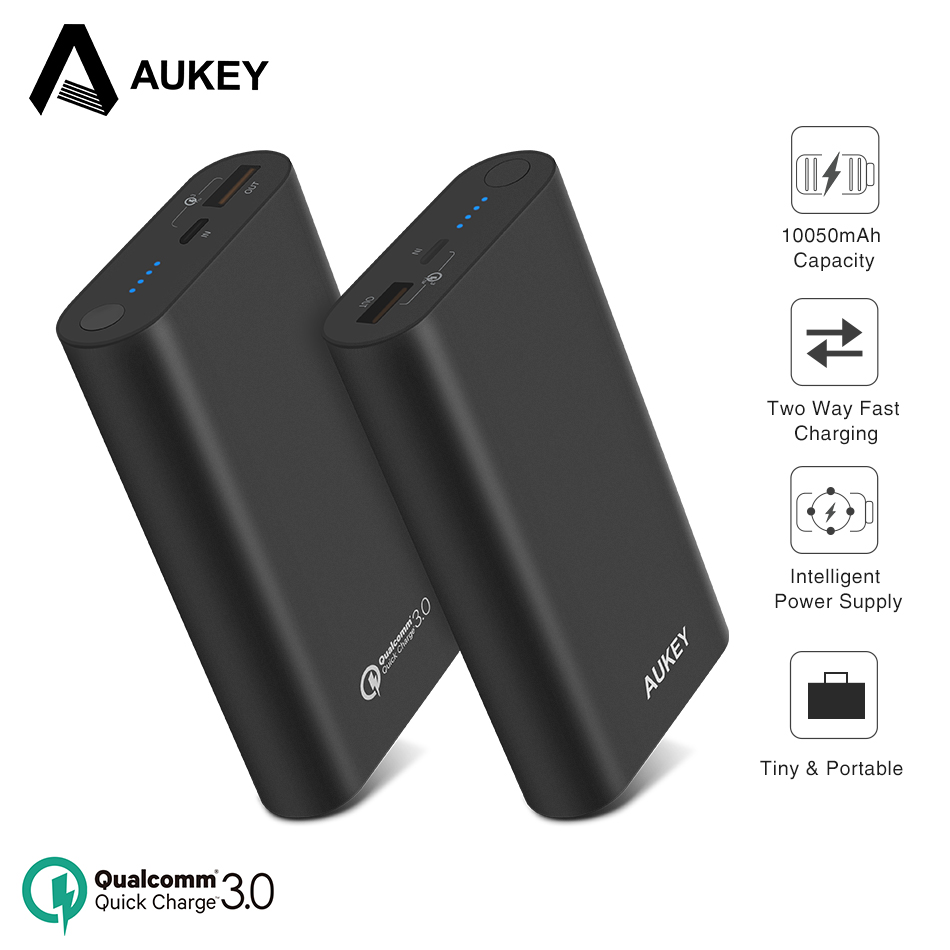 AUKEY Quick Charge 3.0 Power Bank 10050mAh External Battery Powerbank USB Fast Portable Charger For iPhone X 8 Xiaomi Poverbank