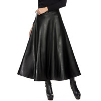 FALANA Faux Leather Skirt Pleated Women Skirt High Waist Swing Maxi Long Skirts Womens Spring Summer