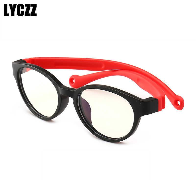 LYCZZ Retro meninos meninas Vidros Ópticos Armação de Óculos Crianças Óculos de Silicone Flexível Anti-azul luz Crianças Óculos
