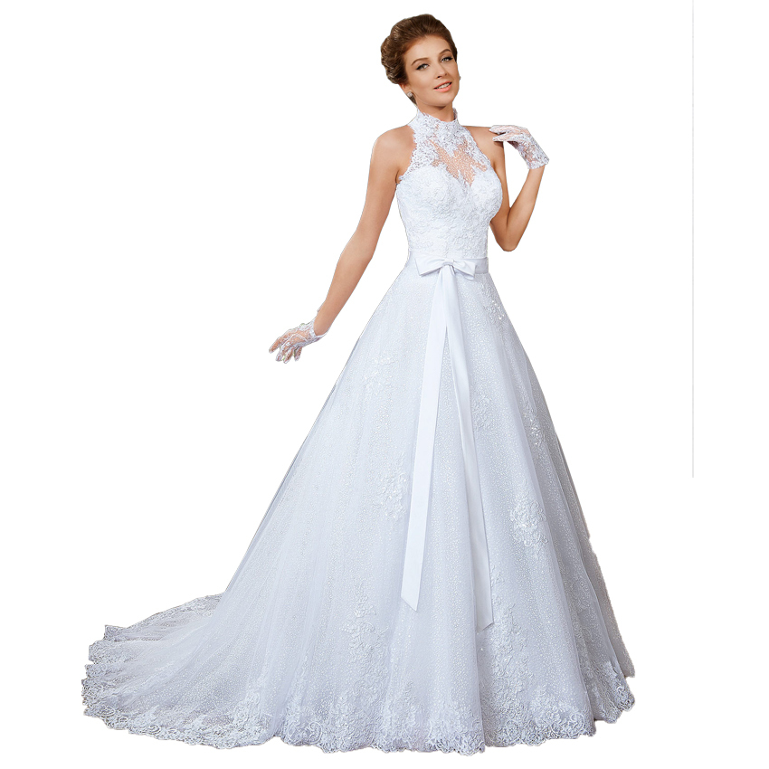 Detachable Cathedral Train Wedding Gown: High Neck Crystal Vintage Lace Wedding Dresses 2016