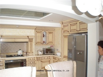 Классическая кухонная мебель из цельного дерева, мебель для шкафа (LH-SW030)