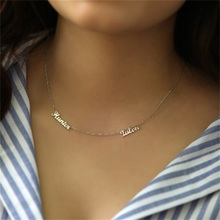 Customize  Initial Necklace Personalized 925 Sterling Silver Two Names Necklaces Pendants Handmade Birthday Gift